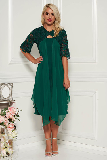 Green dress elegant midi pencil short sleeves voile overlay with laced sleeves