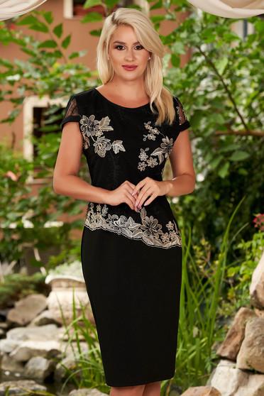 Black dress elegant midi straight neckline short sleeves