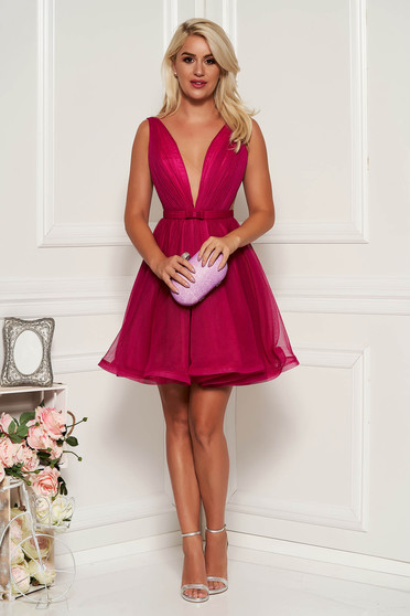 Ana Radu cloche fuchsia luxurious dress with a cleavage from tulle with inside lining accessorized with tied waistband