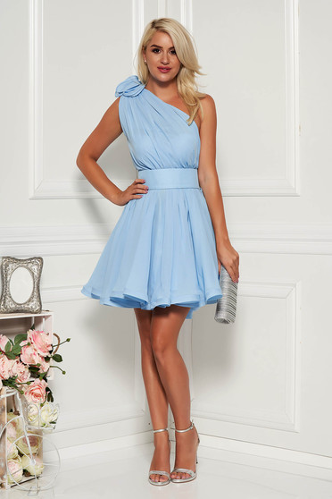 Ana Radu lightblue dress with inside lining occasional sleeveless short cut voile fabric
