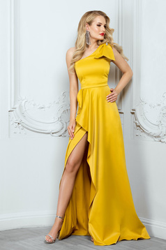 Mustard dress occasional asymmetrical cloche long from satin cut material bow accessory