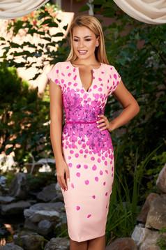 Peach dress daily midi pencil with v-neckline with floral print cloth