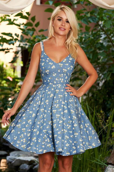 StarShinerS blue dress daily short cut cloche cotton with floral print with straps with v-neckline