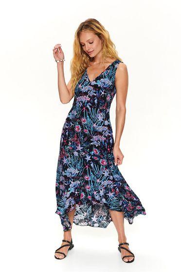 Darkblue dress casual midi asymmetrical with v-neckline sleeveless