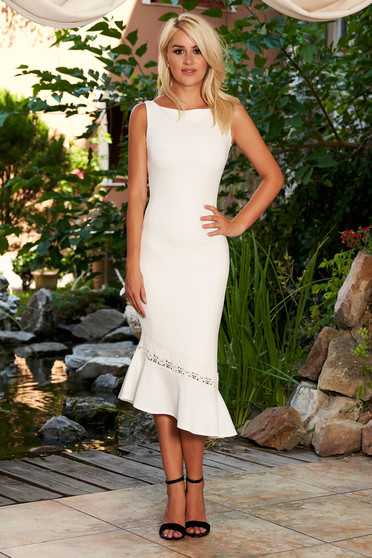 StarShinerS ivory dress elegant daily midi pencil asymmetrical sleeveless with rounded cleavage