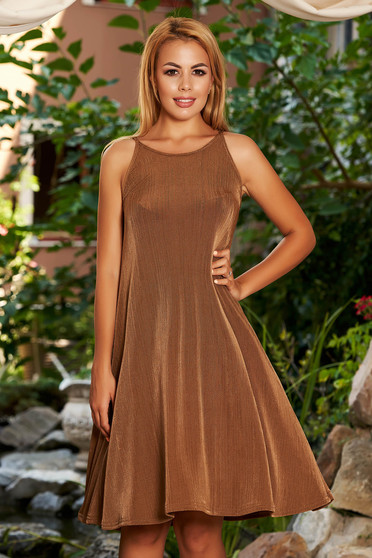 StarShinerS brown dress casual daily short cut cloche neckline halter neck