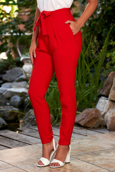 Red trousers elegant high waisted conical with front pockets detachable cord