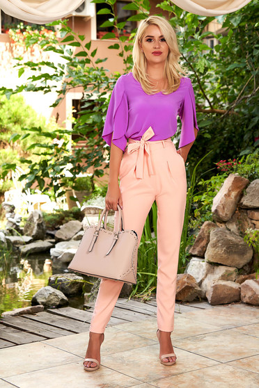 Lightpink trousers elegant high waisted conical with front pockets detachable cord