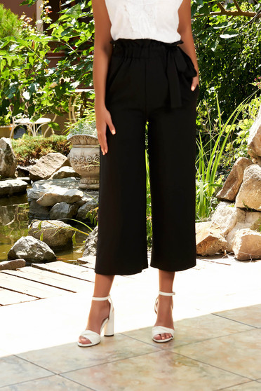 Black casual straight 3/4 trousers