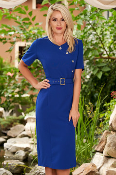 Blue dress daily midi pencil neckline short sleeves with an accessory