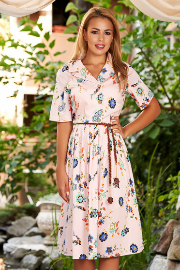 Lightpink dress daily midi cloche with floral print short sleeves with collar