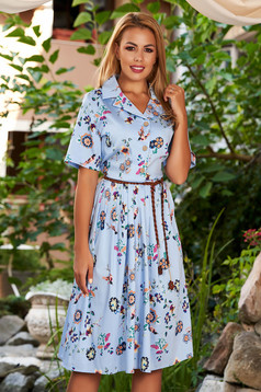 Lightblue dress daily midi cloche with floral print short sleeves with collar