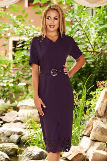 Purple dress elegant daily midi pencil with v-neckline with cut out material accessorized with belt
