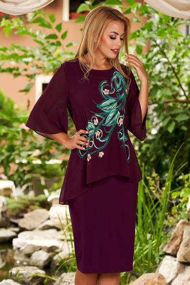 Purple dress elegant daily midi straight cotton with veil sleeves voile overlay