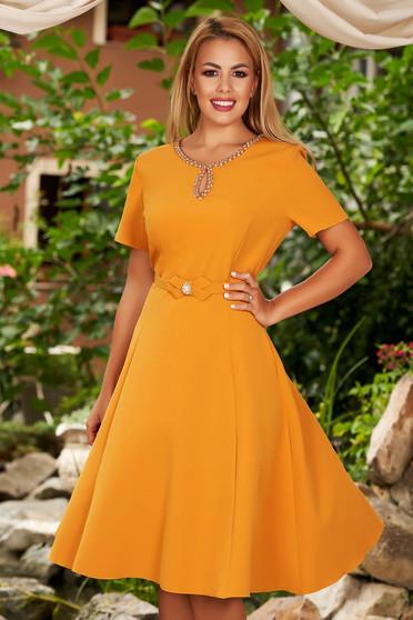 Mustard elegant cloche dress soft fabric handmade details accessorized with belt
