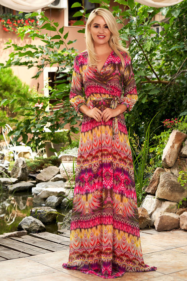 Pink dress daily maxi dresses cloche from veil fabric with graphic details with v-neckline with elastic waist