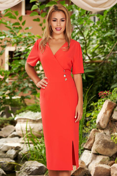 Coral dress daily midi pencil wrap over front short sleeves elegant without clothing