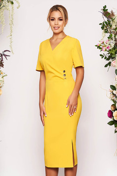 Mustard dress daily midi pencil wrap over front short sleeves elegant without clothing