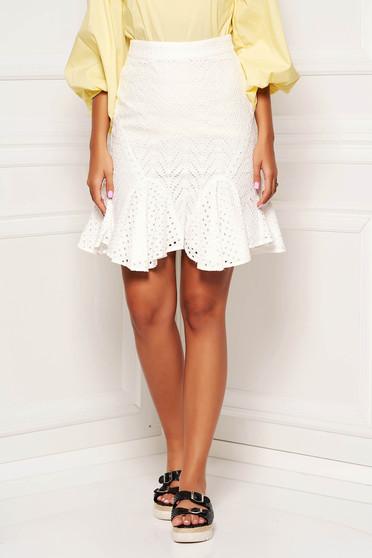 White skirt beach wear short cut cotton with ruffle details transparent fabric