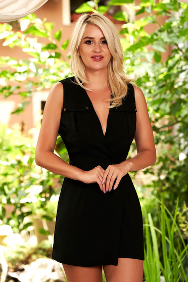 Black jumpsuit casual short cut with deep cleavage with cut back