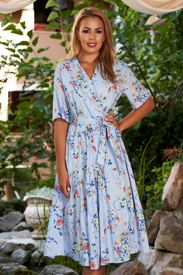 Lightblue dress daily midi cloche wrap over front short sleeves with floral print