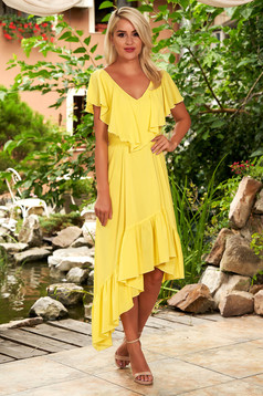 StarShinerS yellow dress daily midi asymmetrical from veil fabric with v-neckline frilly trim around cleavage line