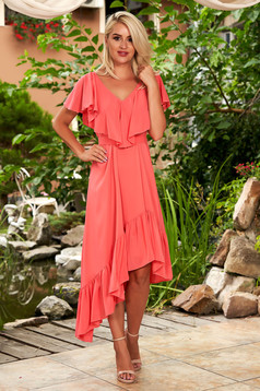 StarShinerS coral dress daily midi asymmetrical from veil fabric with v-neckline frilly trim around cleavage line