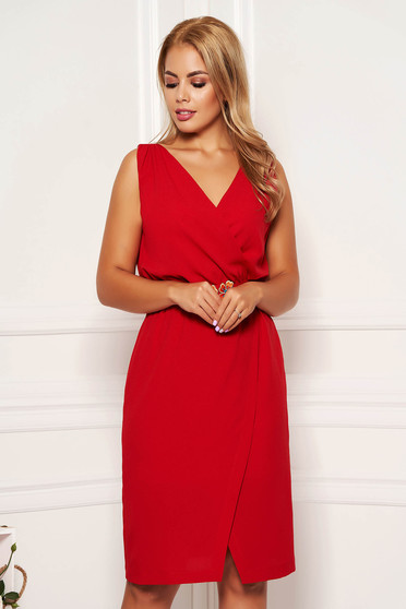 StarShinerS red dress daily short cut with v-neckline sleeveless wrap over skirt straight