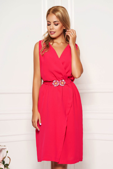 StarShinerS fuchsia dress daily short cut with v-neckline sleeveless wrap over skirt straight