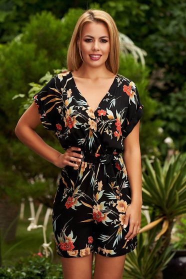 StarShinerS black jumpsuit casual flared with v-neckline with floral print
