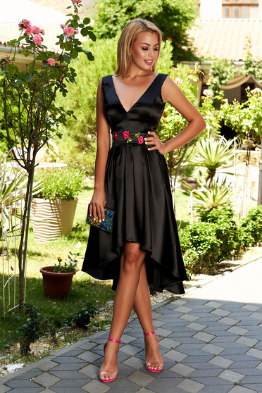 StarShinerS occasional midi cloche asymmetrical black dress with deep cleavage sleeveless detachable cord