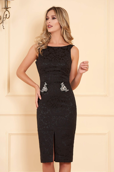 StarShinerS black dress occasional midi pencil sleeveless v back neckline with crystal embellished details jacquard