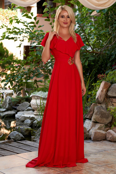 StarShinerS red dress occasional long from veil fabric with deep cleavage frilly trim around cleavage line