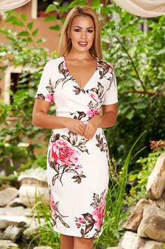 Ivory elegant pencil dress with v-neckline soft fabric with floral prints
