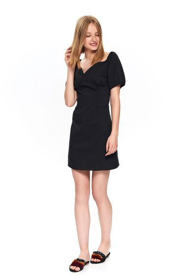 Black dress basic short cut cotton with deep cleavage
