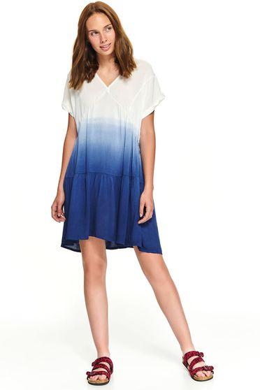 Darkblue degrade short cut casual dress with v-neckline flared