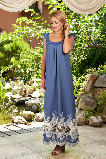 StarShinerS blue dress daily long frilly straps with rounded cleavage embroidered