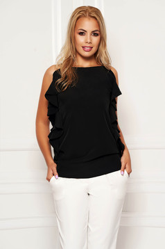 Black women`s blouse elegant flared with ruffle details with straps