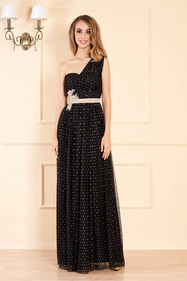Occasional elegant long cloche dots print with push-up cups folded up