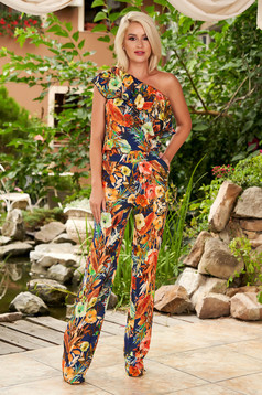 Pink jumpsuit casual flared frilly trim around cleavage line one shoulder with floral print