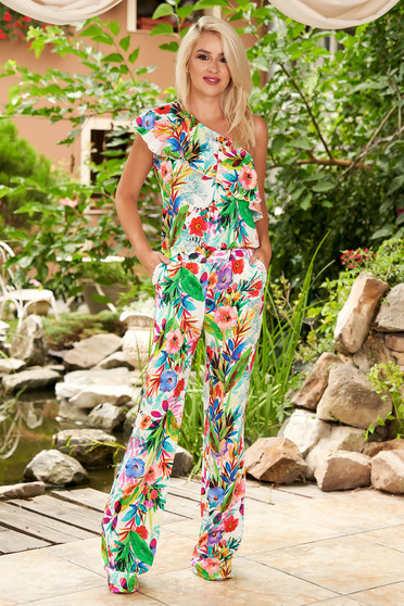 Blue jumpsuit casual flared frilly trim around cleavage line one shoulder with floral print