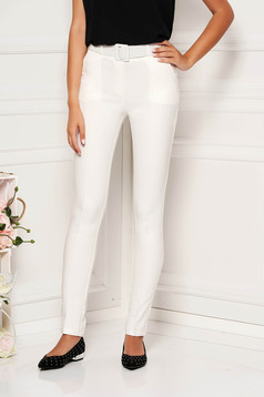 White trousers elegant conical medium waist accessorized with belt