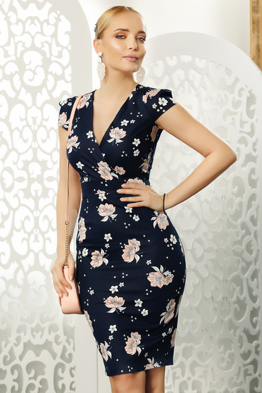 Darkblue dress daily midi pencil with v-neckline short sleeves with floral print