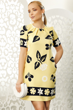 Yellow short cut daily dress a-line short sleeves with pockets