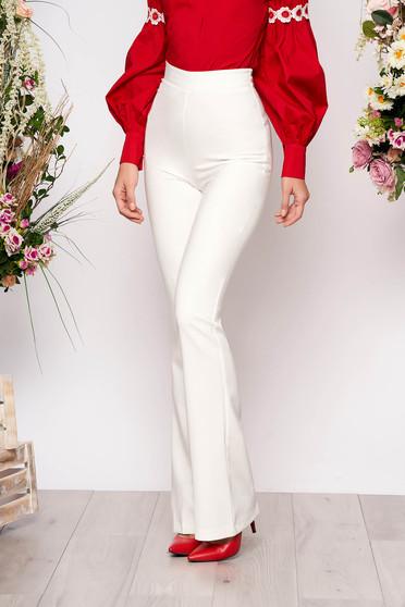 White trousers elegant long medium waist with easy cut