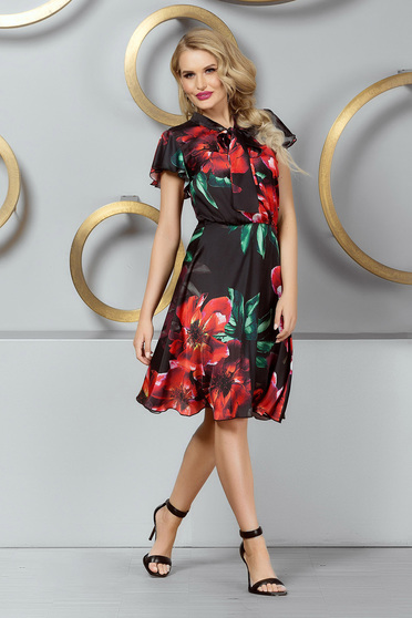 Daily cloche black dress from veil fabric with turtle neck with butterfly sleeves with floral print