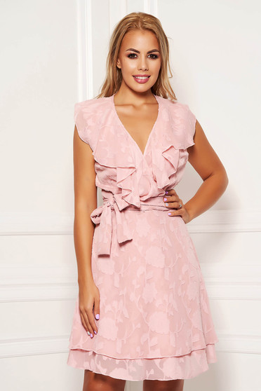 Lightpink daily short cut dress from veil fabric wrap over front with ruffles on the chest