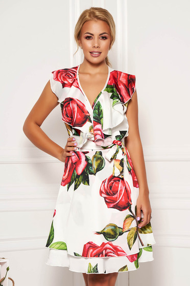 Dress white daily cloche from satin with floral print sleeveless wrap over front