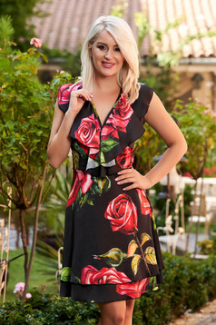 Dress black daily cloche from satin with floral print sleeveless wrap over front
