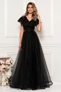 StarShinerS black dress occasional long from tulle with v-neckline frilly trim around cleavage line